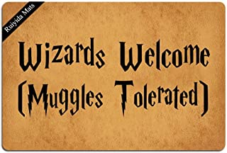 Ruiyida Wizards Welcome Muggles Tolerated Doormat Custom Home Living Decor Housewares Rugs and Mats State Indoor Gift Ideas 23.6 by 15.7 Inch Machine Washable Fabric Top