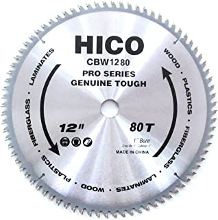 HICO 12-Inch 80-Tooth ATB Miter Saw Blade Thin Kerf General Purpose Saw Blade with 1-Inch Arbor for Softwood Hardwood Plywood