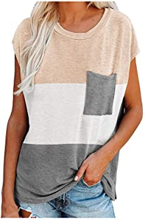 Women's T-Shirt QUINTRA Fashion Splicing Collision Pocket Round Neck Loose T-Shirt Tops Blouse Pullover