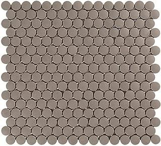 Vogue Tile Unglazed Gray Penny Round Porcelain Mosaic (Box of 10 Pcs), Floor and Wall Tile, Backsplash Tile, Bathroom Tile on 12x12 Mesh for Easy Installation