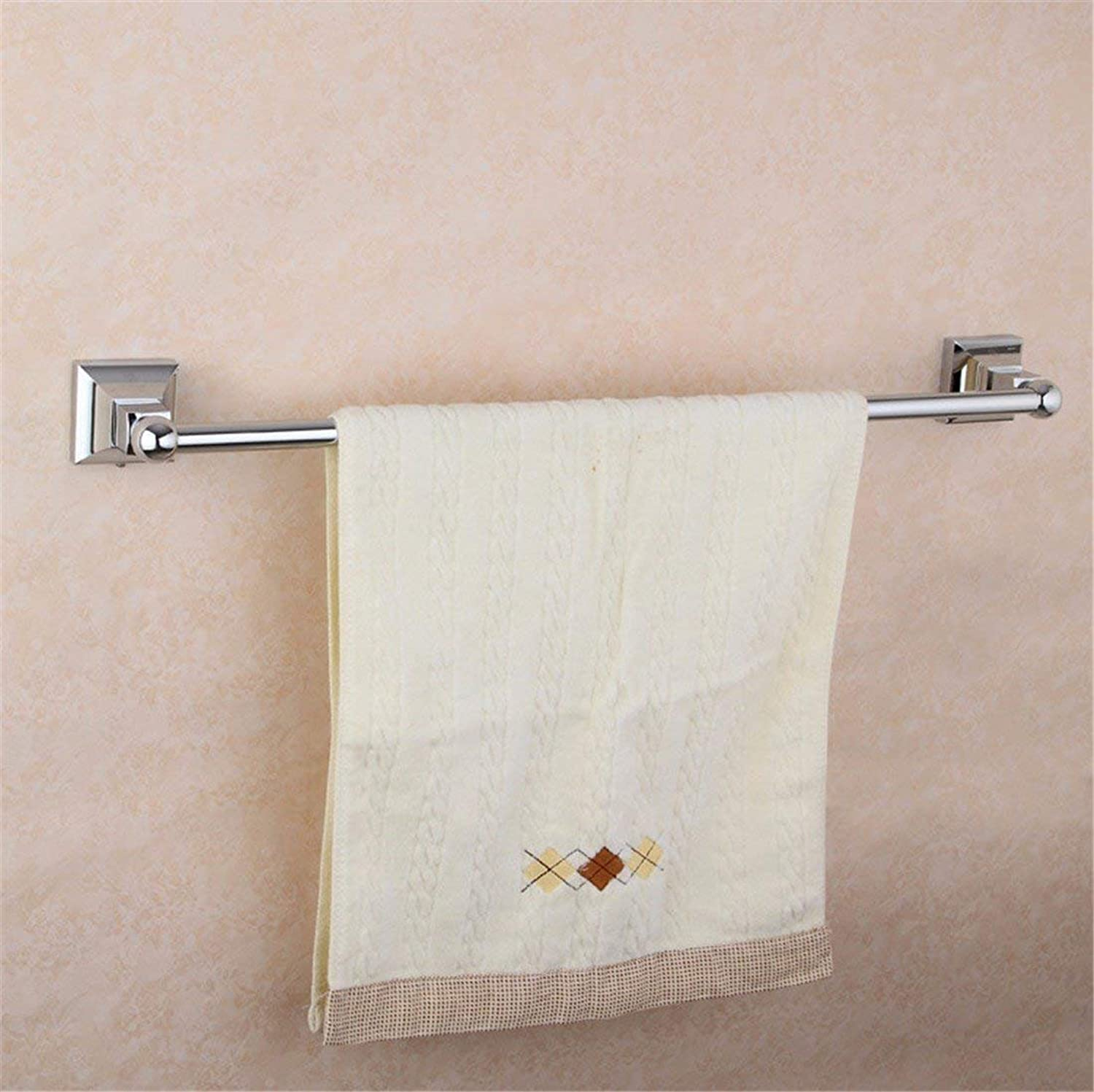 Full of European Style Square Base Chromium Copper Accessories for Bathroom, Dry-Towels Cup-Holder, Toothbrush, Ring,Single Rod