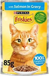 Purina Friskies Salmon Chunks In Gravy Wet Cat Food Pouch 85g