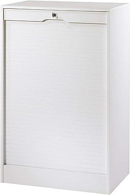 SIMMOB MATHA Classeur à Rideau Large Hauteur 108 cm - Coloris - Blanc, Bois, 44x70,1x108,4 cm