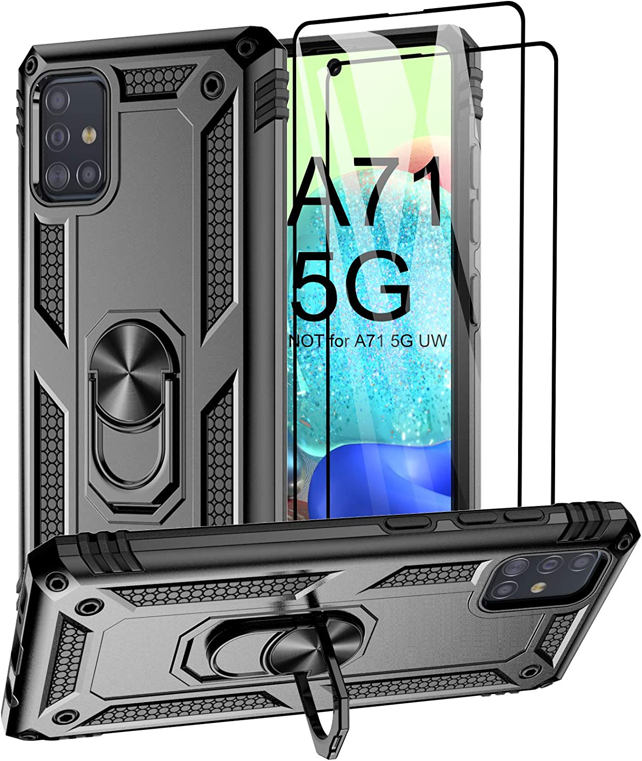 Aliruke Case for Samsung Galaxy A71 5G Case with 2 Tempered Glass Screen Protector, Military Grade Drop Tested Cover Grip Ring Kickstand Protective Phone Cases for Samsung Galaxy A71 5G A716U, Black