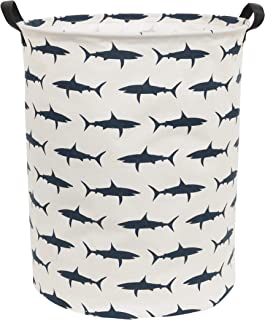 Sanjiaofen Large Storage Bins,Canvas Fabric Laundry Basket Collapsible Storage Baskets for Home,Office,Toy Organizer,Home Decor (Shark)