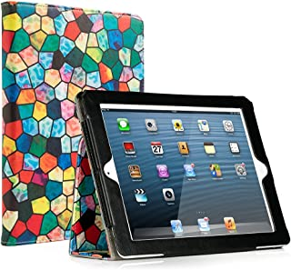 RUBAN iPad 2/3/4 Case Release [Corner Protection]-[Scratch-Resistant]and High-grade PU Leather Folio Stand Smart Cover, Auto Wake/Sleep for Apple iPad 2th/3th/4th Gen with Retina Display,Stained Glass