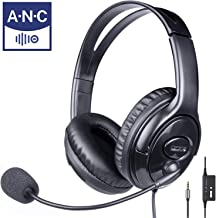 Monodeal Work Headset with Microphone with Noise Cancelling, 3.5mm Over Ear Wired Call Center Computer USB Headphone for Call Center, Office, Home, Skype, Online Teaching, Google Voice