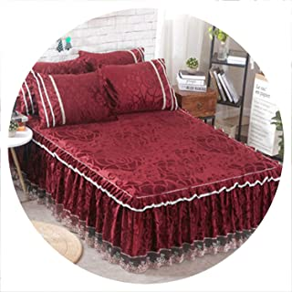 European Style Thickening Plush Quilted Bed Skirt Graceful Printed Wedding Mattress Cover Home Textile Twin Full Bed Skirts Gift,6,150x200CM