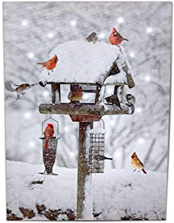 BANBERRY DESIGNS Cardinal Canvas Print - Lighted Print with Cardinals Bird Feeders- Winter Scene Artwork - Cardinal Pictures
