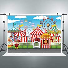 Riyidecor Circus Carnival Playgrounds Backdrop Ferris Wheel Red Tent Carousel Photography 7x5 Feet Backgrounds Kid Child Birthday Party Baby Shower Celebration Decor Photo Shoot Props Vinyl