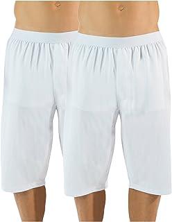 Casual Nights Men's Mesh Long Boxer Shorts 2 Pack - White