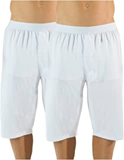 Men's Mesh Long Boxer Shorts 2 Pack - White