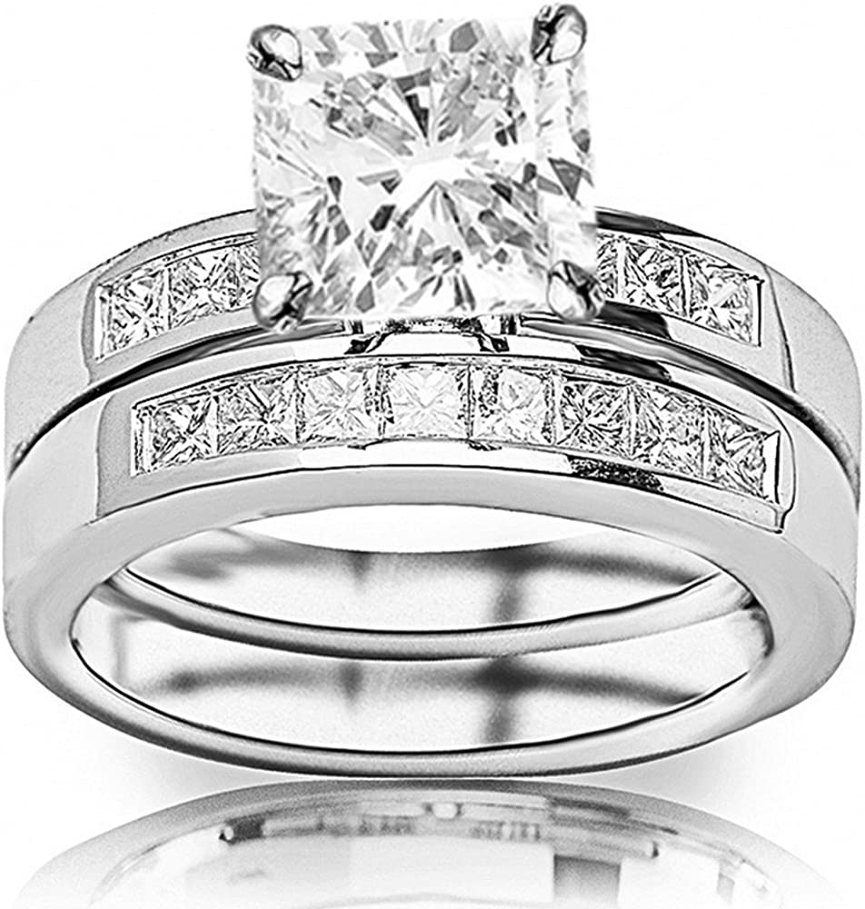 3 Ctw 14K White Gold Channel Set Bridal C 2021 autumn and winter new Princess Thick GIA Japan Maker New