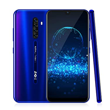 4G Smart Phone,Xgody Note8 Mobile Phone Unlocked,Dual Sim Free Android 9.0 Phones,6.26 inch qHD+ Waterdrop Screen Cell Phone,16GB ROM + 64GB Storage,Face ID-Blue
