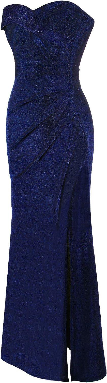 Angel-fashions Femme Plisse Robe de Soiree Epaules denudees
