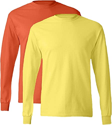 , 5586, Homme, T-shirt ¨¤ hommeches longues sans ¨ tiquette, 1 Orange + 1 Jaune, Grand
