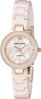 Anne Klein Women's AK/2660LPRG Diamond-Accented Rose Gold-Tone and Light Pink Ceramic Bracelet Watch