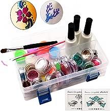 Tatuaje Purpurina Temporales, ZABO Tatuaje de Brillo, con 2 piezas Face Gems+24 Colores de Brillo +6 Polvo Luminosos +165 plantillas para niños cara cuerpo pintura arte herramientas traje
