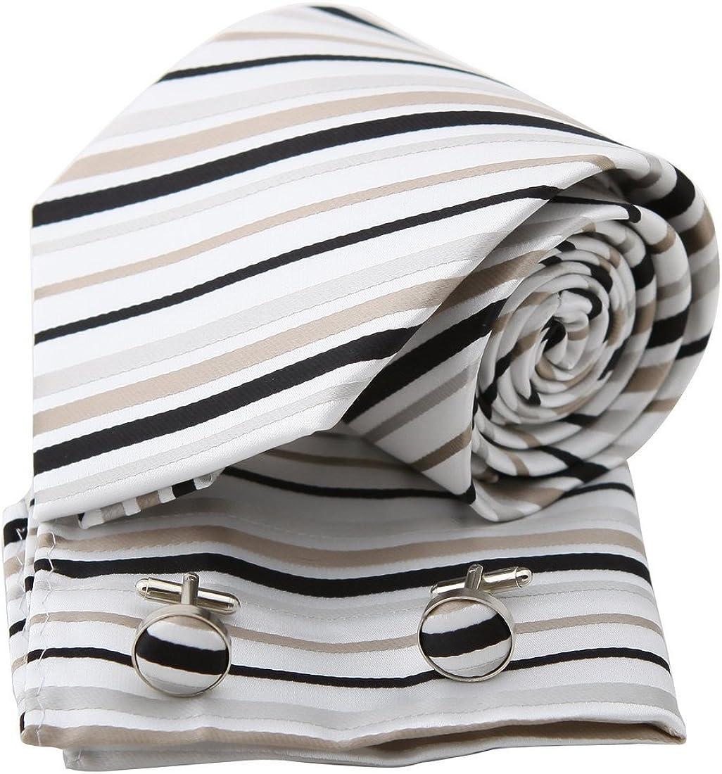 Epoint Men's Fashion Handmade Fabric Striped Silk Tie Multicolored for Bridegrooms