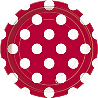"""Ruby Red Dot Plates 7"""""""