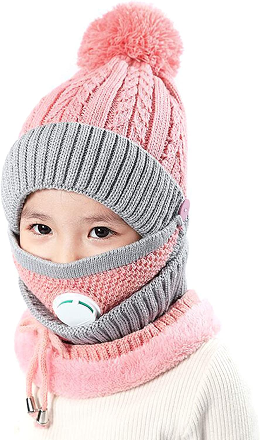 QKFON 3 in 1 Kids Knitted Scarf Hat Face Cover Set with Breathing Valve Adjustable Scarf Warm Soft Hat for Winter Children Outdoor One Size