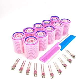 40 Pieces Self Grip Hair Rollers Set, Self Holding Rollers andMetal AlligatorHair Clips Hairdressing Curlers for Women, ...