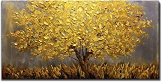 Boiee Art,24x48Inch Oil Hand Paintings Abstract Golden Tree 3D Hand Painted on Canvas Landscape Artwork Texture Palette Knife Paintings Modern Home Decor Wall Art Wood Inside Framed Hanging Wall Décor
