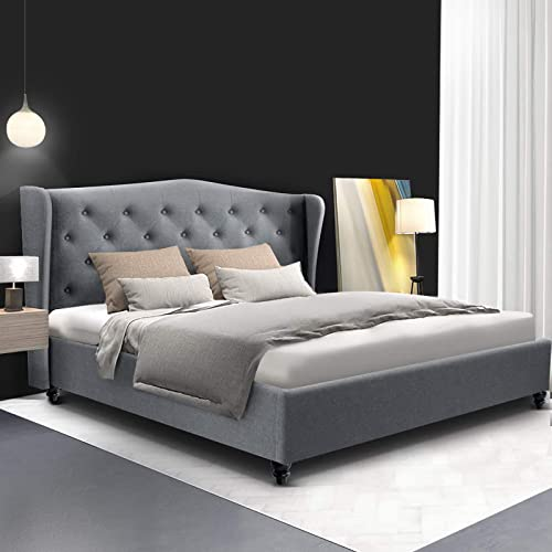 Artiss Double Bed Frame Fabric Tufted Headboard - Grey