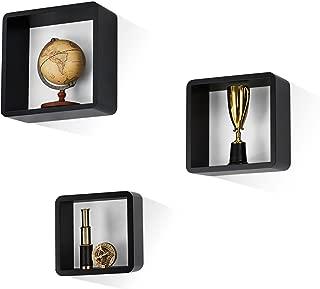 Mesola Design, Wood Floating Shelves Cube Shape - Large Square Hanging Wall Mount Shelf Set - Deep Shelves Perfect for Home Decor, Living Room, Bathroom, Bedroom, Kitchen, and More - Set of 3 (Black)