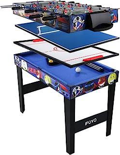 IFOYO - Mesa de juego 4 en 1, mesa de hockey, futbolín, billar y ping pong, Small 31.5in