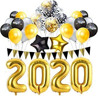 Graduation 2020 New Years Eve Party Supplies 2020 Decorations Kit 32 Inches Large 2020 Balloon + Gold Grey and Black Balloons Sets for 2020 Graduation Party Supplies Decor