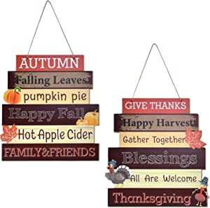 Likeny 2PC Fall Decorations/Decor for Home-Thanksgiving Hanging Indoor Outdoor Welcome Signs,Fall Decor for Thanksgiving Themed Wooden Door Signs Plaque,Fall Autumn Harvest Day Home Office Front Porch
