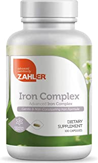 Zahlers Iron Complex, Complete Blood Building Iron Supplement with Ferrochel, Easy on The Stomach Iron Pills with Vitamin ...