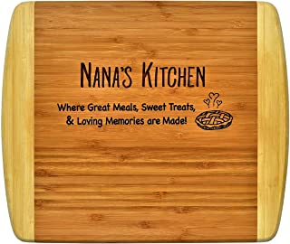 NANA GIFT ~ Engraved 2-Tone Bamboo Cutting Board ~ 2-Sided Design Engraved Side Designed For Decor Reverse Side For Usage Nana Birthday Gift Mothers Day Christmas Gift Best Nana Ever (11 1/2 x 13 1/2)