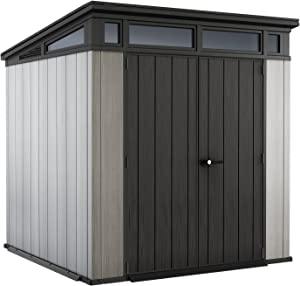 Keter Artisan 7x7 Foot Outdoor Shed with Floor - Modern Design for Patio Furniture, Lawn Mower, Tools, and Bike Storage