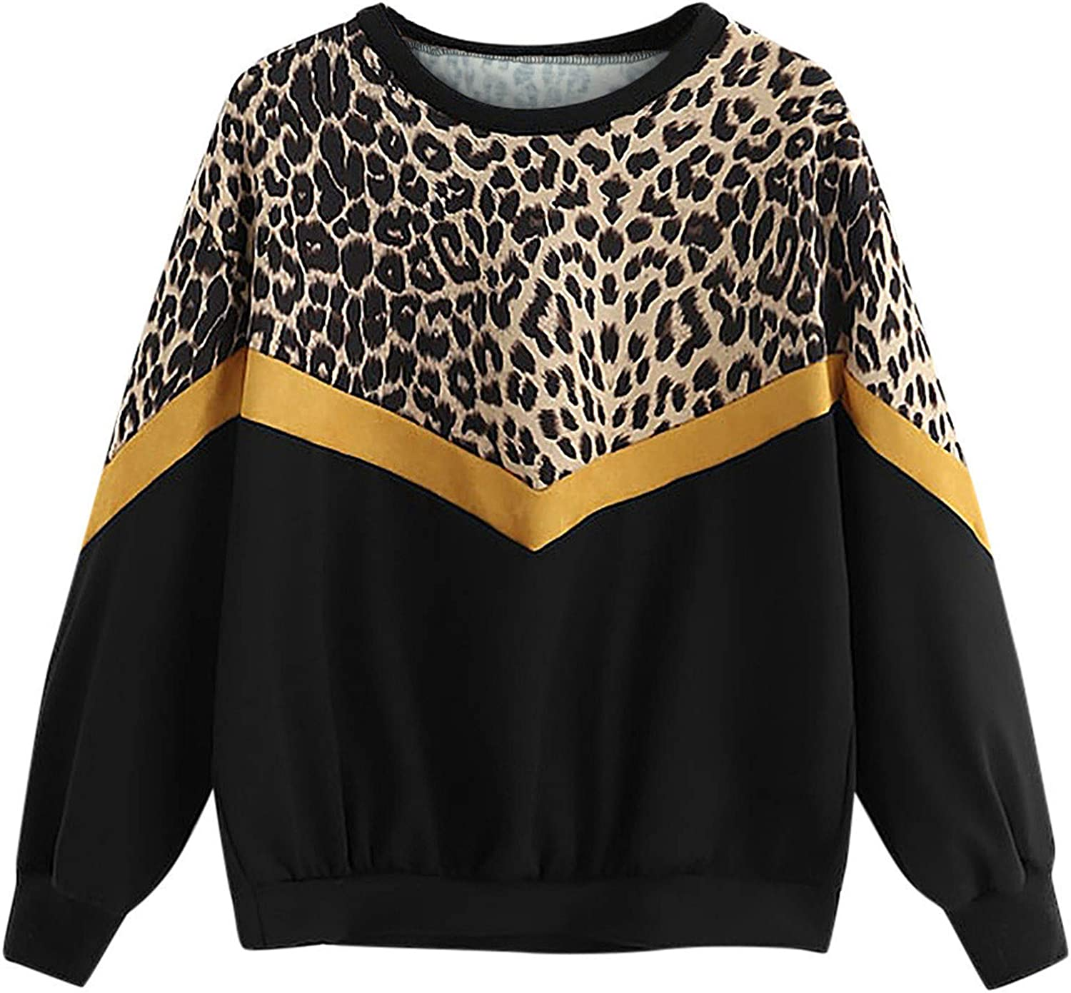 Stitching Sweatshirt New products, world's highest quality popular! for Women Crewneck Lo Award-winning store Pullover Tops Leopard