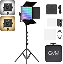 GVM RGB Video Light with Stand, 50W Full Power Output CRI97+ APP Control 3200K-5600K LED Continuous Video Light kit for YouTube Photography Lighting Wedding Interview and Filming(One Pack with Stand)