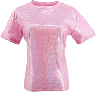 Liliam Women Girls Casual Metallic Holographic Hip Hop Oversized Baggy Loose Fit Tank Tops Blouse T-Shirt Tee