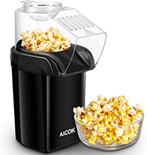 Aicok Hot Air Popcorn Popper, 1200W Fast Popcorn Maker with Butter Warming/Measuring Cup, Removable Lid, Easy To Cleanup, FDA Certified, Black