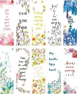 girldate しおり 紙製 ブックマーク メッセージカード 30枚 カラフル パステル 水彩 花と英文字 おしゃれ フラワー ワードカード パターンが全部異なる しおりセット