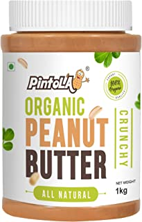 All Natural Organic Roasted Peanut Butter, Spread (Crunchy) Unsweetened 1kg (35.27 OZ) By Pintola