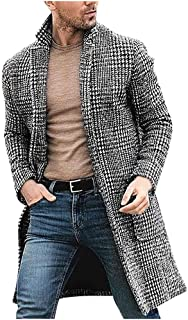 Men's Houndstooth Long Coat Casual Winter Fashion Wool Jacket Classic Slim Outwear