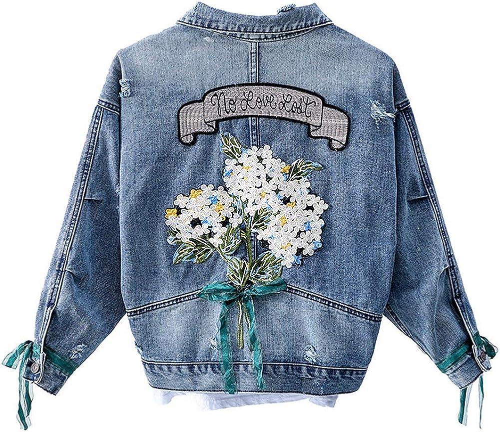 Kedera Women's Embroidered Flower Long Sleeve Cropped Boyfriend Denim Jean Jacket