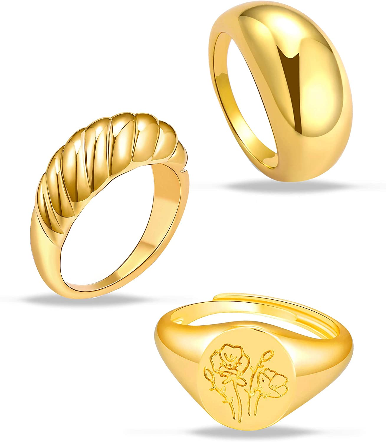 3Pcs Chunky Gold Rings Set for Women Thick Dome Rings 18K Gold Plated Croissant Braided Twisted Stacking Round Signet Rings Size 6-10
