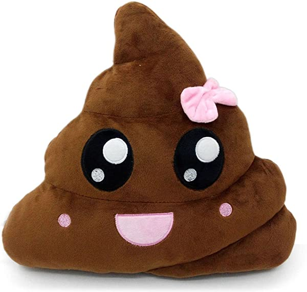Thenese Poop Emoji Pillow Smiley Emoticon Round Cushion Pillow Stuffed Cute Plush Soft Toy Doll Cat Dog Bunny Piggy Unicorn Cow Car Home Office Accessory SMILE POOP