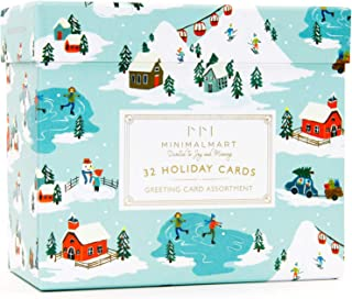 Minimalmart Premium Christmas Cards Box Set of 32 Assorted Premium Cards with Gold Embellishments and Stickers – Boxed Assortment Pack with Envelopes - Winter Holiday Xmas Greeting Cards