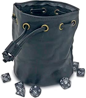Dragons Play Drawstring Leather Pouch