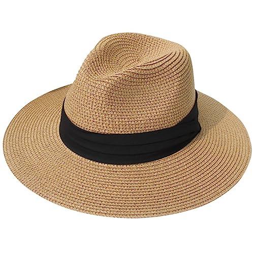 JOYEBUY Womens UPF50 Foldable Summer Straw Hat Wide Brim Fedora Sun Beach  hat b6b6d0ddaee5
