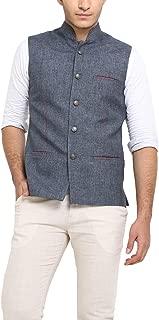 Shaftesbury London Men's Solid Matte Bandhgala Ethnic Nehru Jacket Waistcoat (Grey,Parent)