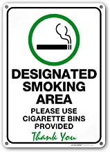 Designated Smoking Area Sign, Please Use Cigarette Bins Provided, Outdoor Rust-Free Metal, 10